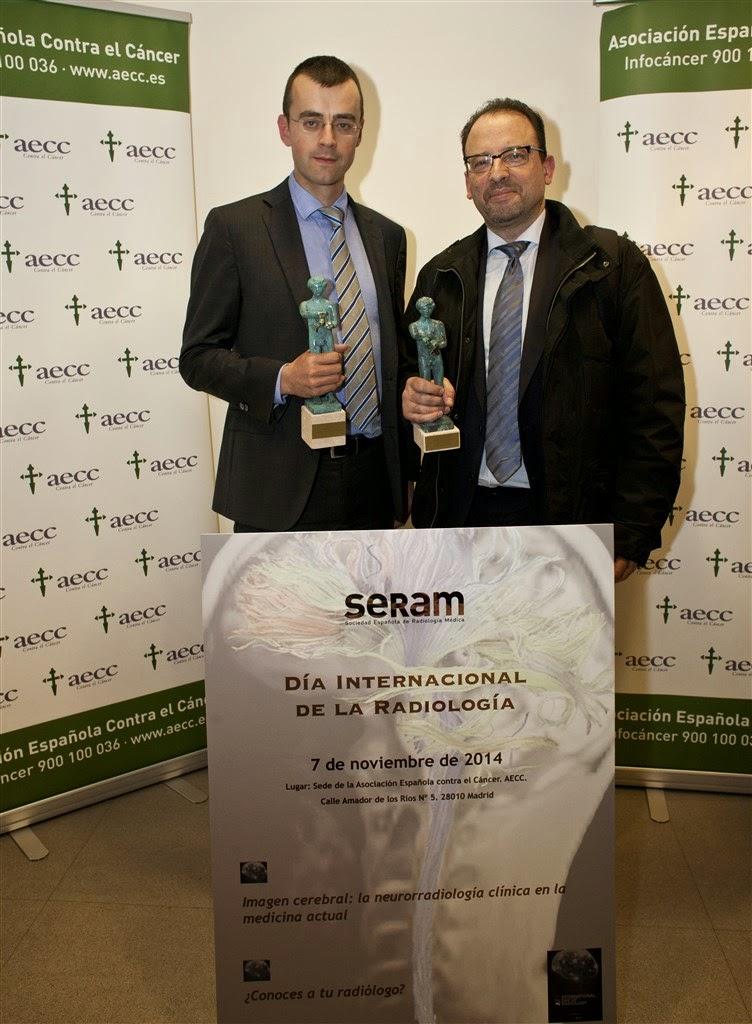 Els doctors Salvador Pedraza i Josep Puig, Radiòlegs de l'IdibGI, reben els premis a la trajectòria d'investigació en radiologia i al millor treball publicar el 2013