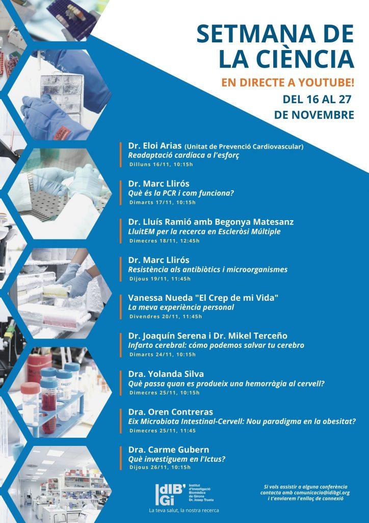 L'IDIBGI celebra la Setmana de la Ciència 2020 amb seminaris i xerrades en directe a Youtube