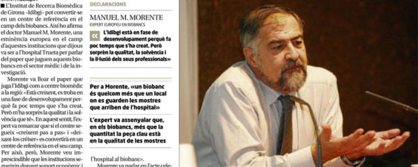 MANUEL M. MORENTE, UN DELS MÀXIMS EXPERTS EN BIOBANCS, VISITA L'HOSPITAL TRUETA
